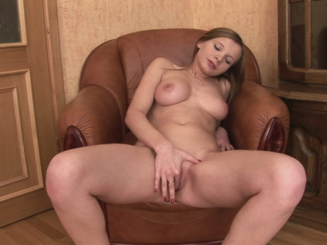 Chocolate-colored Haired Nubile Hottie Demonstrating Meaty Globes And Fondling Her Poon At The Armchair