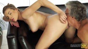 Daddy4k. Elder Dude And Stepsons Marvelous Girlfriend Have Lovemaking In Cute Poses